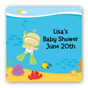Under the Sea Baby Snorkeling - Square Personalized Baby Shower Sticker Labels