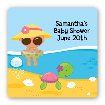 Beach Baby Hispanic Girl - Square Personalized Baby Shower Sticker Labels