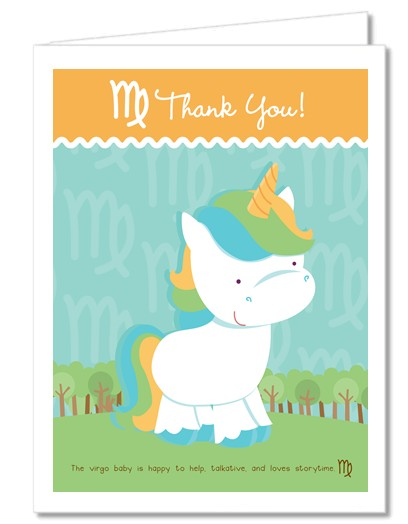 Baby Shower Thank You Cards  Unicorn  Virgo Horoscope Thank You Notes