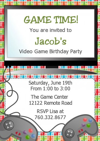 Video game time birthday party invitations candles and favors video game time birthday party invitations stopboris Choice Image