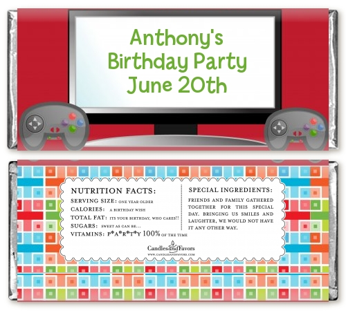 video game time personalized birthday party candy bar wrappers