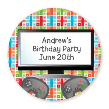 Video Game Time - Round Personalized Birthday Party Sticker Labels