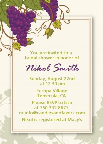 Vineyard Splash - Bridal Shower Invitations