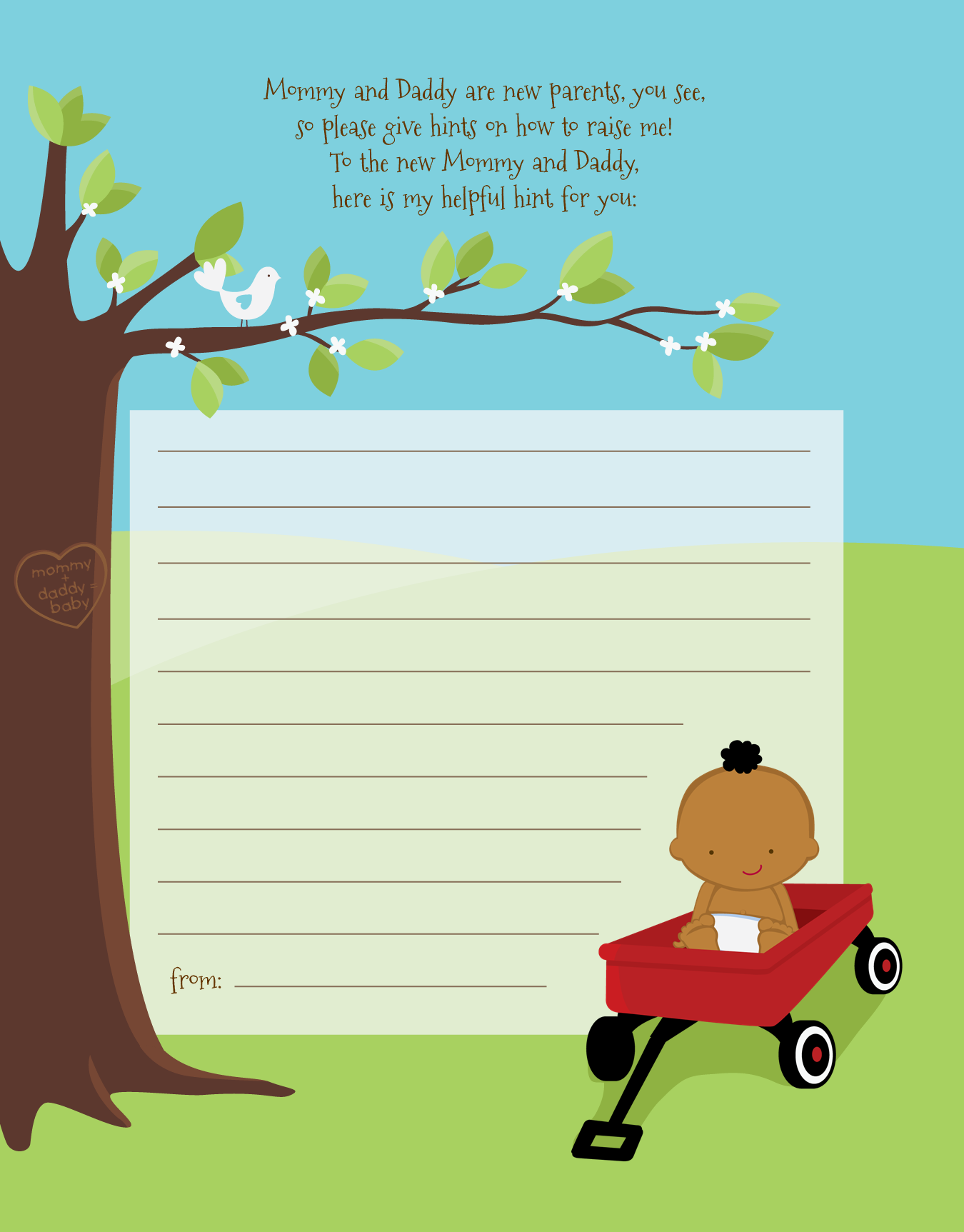 Little Red Wagon - Baby Shower Notes of Advice Caucasain