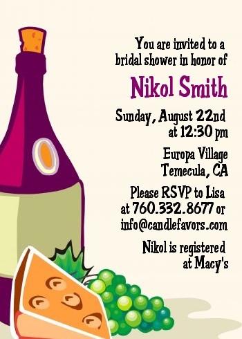wine cheese bridal shower invitations