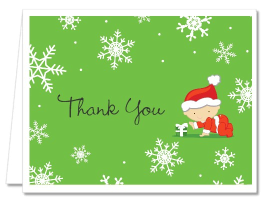 Baby Shower Thank You Cards | Christmas Baby Snowflakes Thank You