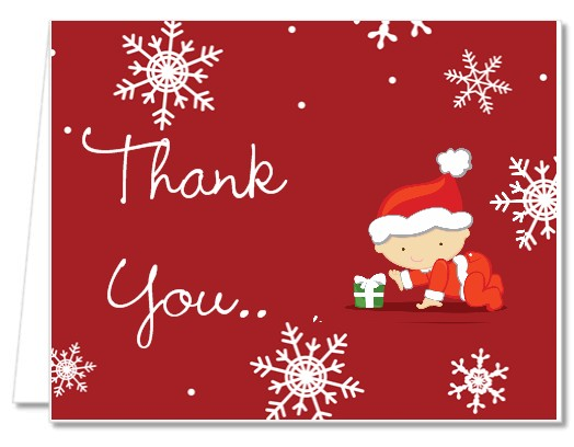 Baby Shower Thank You Cards  Christmas Baby Snowflakes Thank You Notes