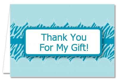 Zebra Print Blue - Baby Shower Thank You Cards