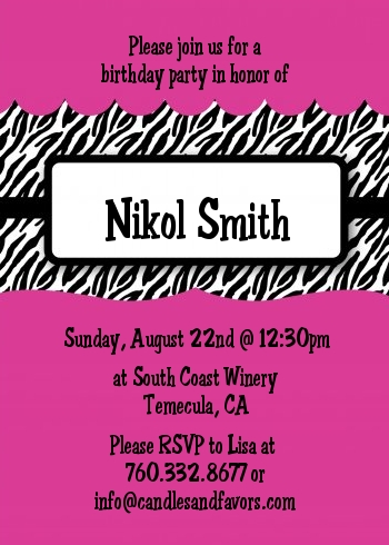 Zebra print pink birthday party invitations candles and favors zebra print pink birthday party invitations filmwisefo