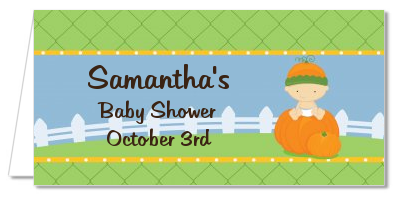 Pumpkin Baby Caucasian - Personalized Baby Shower Place Cards