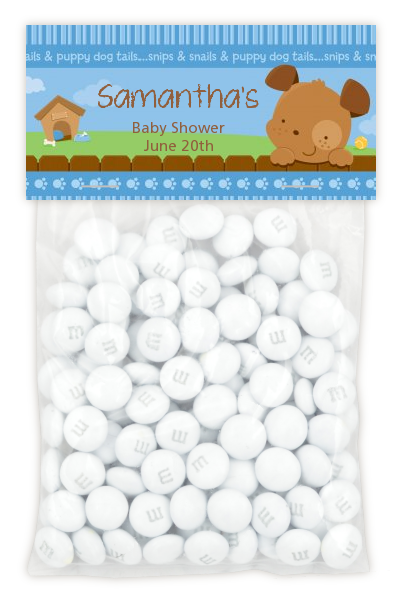 Puppy Dog Tails Boy - Custom Baby Shower Treat Bag Topper