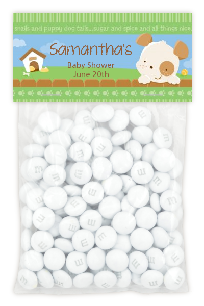 Puppy Dog Tails Neutral - Custom Baby Shower Treat Bag Topper