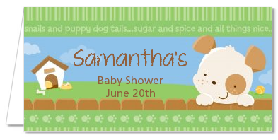 Puppy Dog Tails Neutral - Personalized Baby Shower Place Cards
