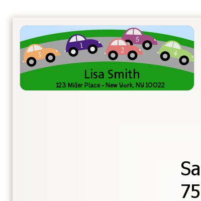 Race Car - Birthday Party Return Address Labels