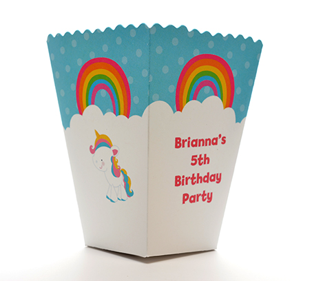 rainbow unicorn birthday party popcorn boxes