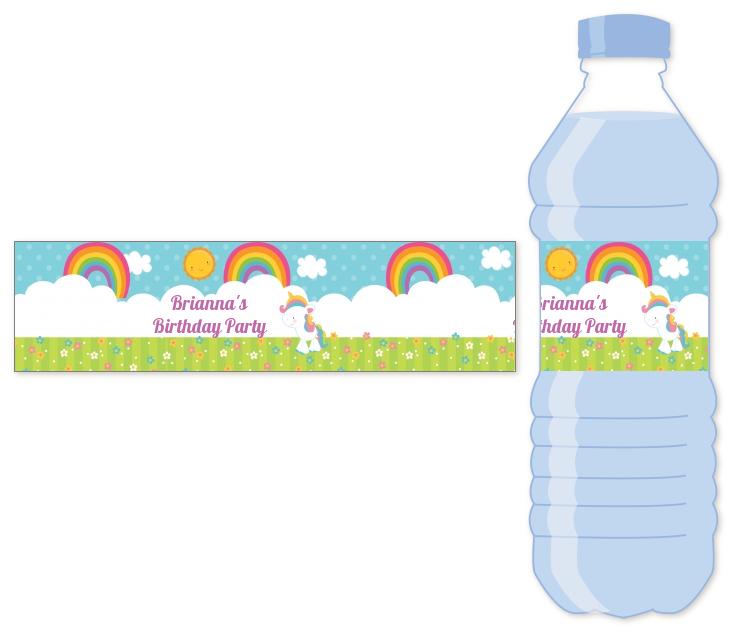 rainbow unicorn water bottle label