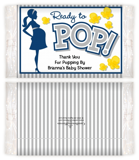 Ready to pop blue baby shower popcorn wrappers baby shower popcorn wrappers for Ready to pop popcorn labels