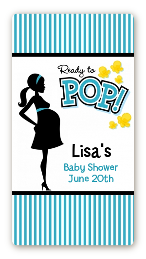 ready to pop teal baby shower rectangular sticker labels