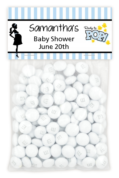 Ready To Pop Blue - Custom Baby Shower Treat Bag Topper