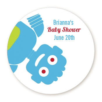 Robots - Round Personalized Baby Shower Sticker Labels