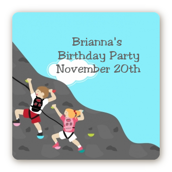 Rock Climbing - Square Personalized Birthday Party Sticker Labels