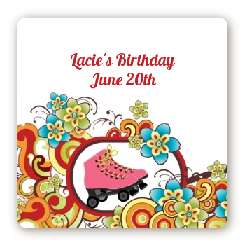 Roller Skating - Square Personalized Birthday Party Sticker Labels