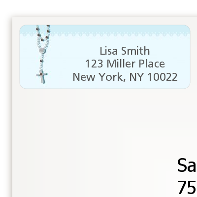 Rosary Beads Blue - Baptism / Christening Return Address Labels