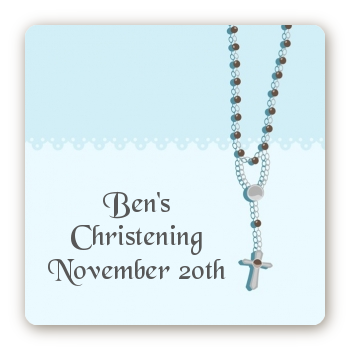 Rosary Beads Blue - Square Personalized Baptism / Christening Sticker Labels
