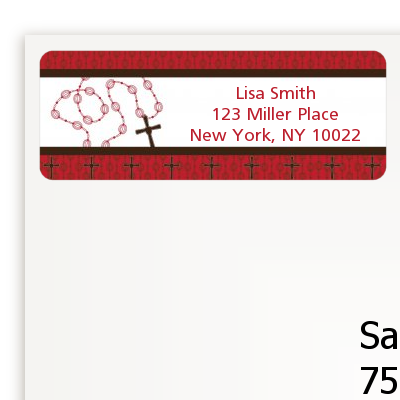 Rosary Beads Maroon - Baptism / Christening Return Address Labels