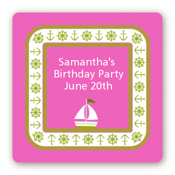 Sailboat Pink - Square Personalized Birthday Party Sticker Labels