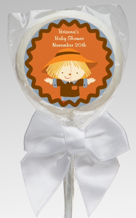 scarecrow fall theme baby shower lollipop favors scarecrow fall