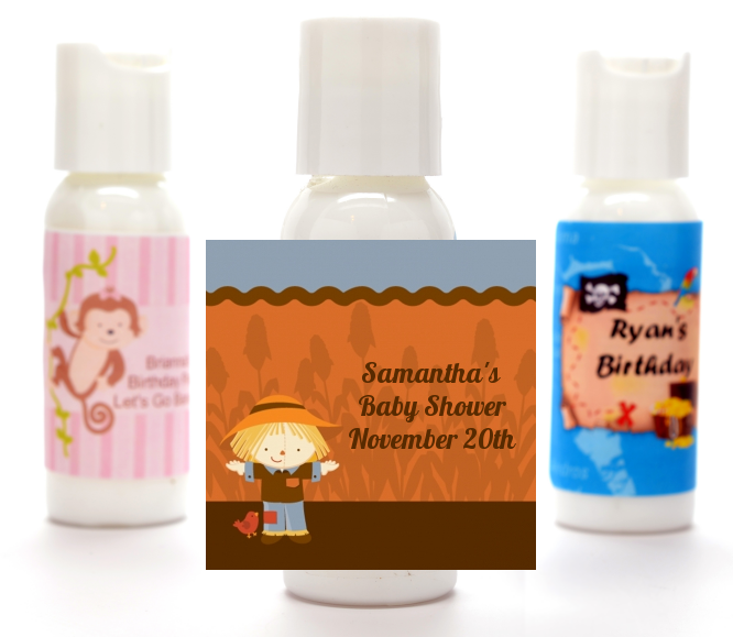 scarecrow fall theme personalized baby shower lotion favors