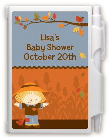 scarecrow fall theme notebook favor baby shower notebook favors
