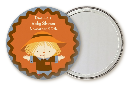 scarecrow fall theme personalized baby shower pocket mirror favors