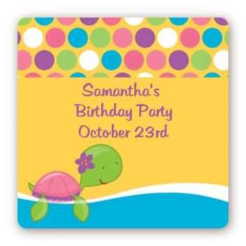 Sea Turtle Girl - Square Personalized Birthday Party Sticker Labels
