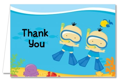 Under the Sea Asian Baby Boy Twins Snorkeling - Baby Shower Thank You Cards