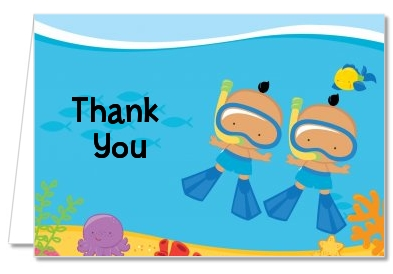 Under the Sea Hispanic Baby Boy Twins Snorkeling - Baby Shower Thank You Cards