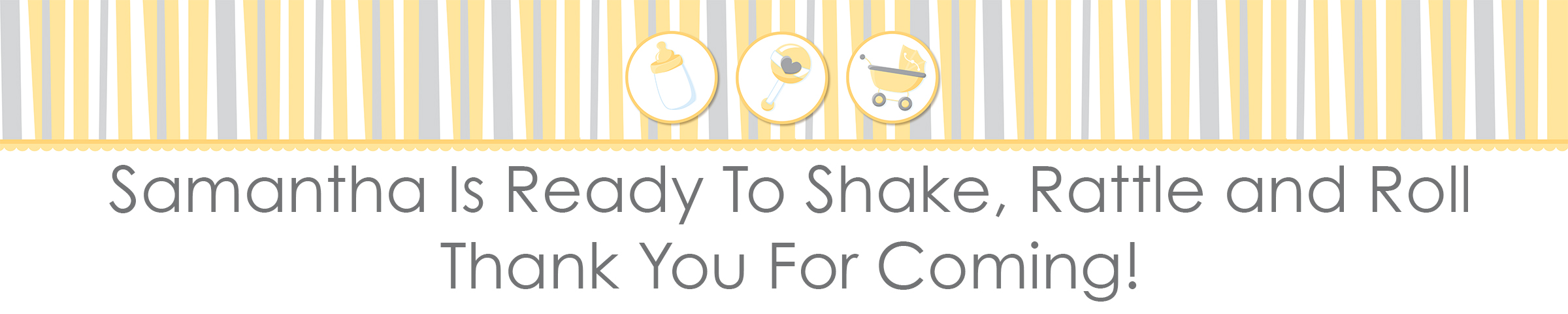 Shake, Rattle & Roll Yellow - Personalized Baby Shower Banners thumbnail