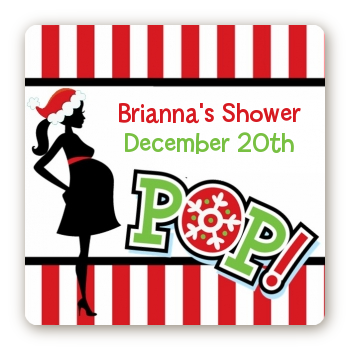 She's Ready To Pop Christmas Edition - Square Personalized Baby Shower Sticker Labels