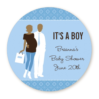 Silhouette Couple African American It's a Boy - Round Personalized Baby Shower Sticker Labels