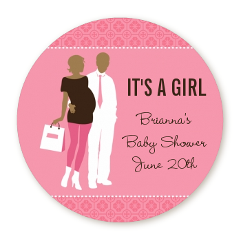 Silhouette Couple African American It's a Girl - Round Personalized Baby Shower Sticker Labels