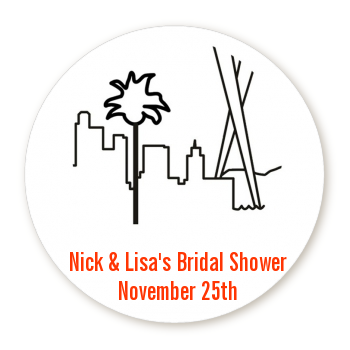 Los Angeles Skyline - Round Personalized Bridal Shower Sticker Labels