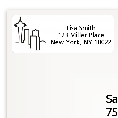 Seattle Skyline - Bridal Shower Return Address Labels