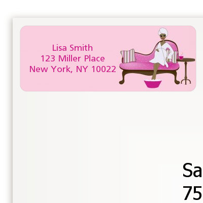 Spa Mom Pink African American - Baby Shower Return Address Labels