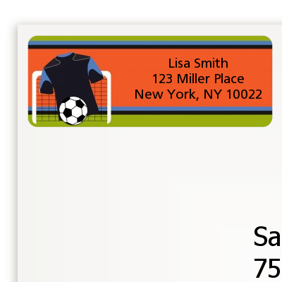 Soccer Jersey Black and Blue - Birthday Party Return Address Labels