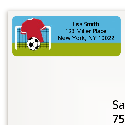 Soccer - Birthday Party Return Address Labels