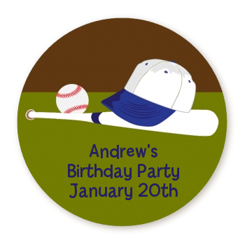 Baseball - Round Personalized Birthday Party Sticker Labels
