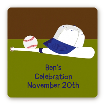Baseball - Square Personalized Birthday Party Sticker Labels
