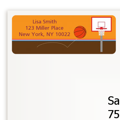 Basketball - Birthday Party Return Address Labels