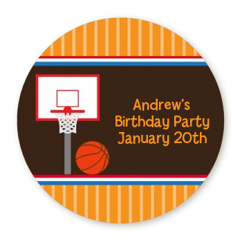 Basketball - Round Personalized Birthday Party Sticker Labels